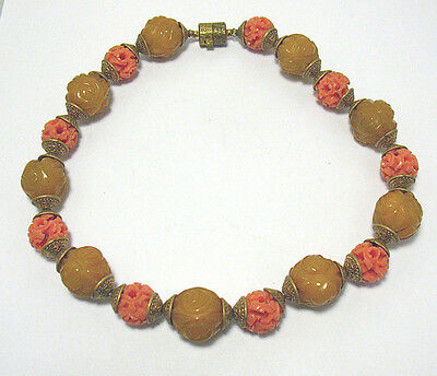 """Vintage Amber Carved Faux Coral Large Bead Necklace String Strand 15"""""""