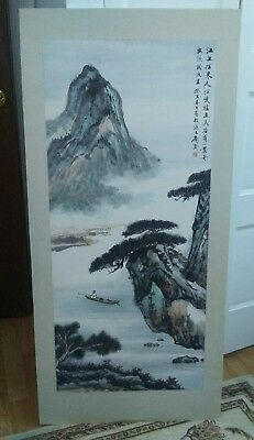 Vintage Chinese Watercolor Painting Landscape Signed 45.5 X 21 inch