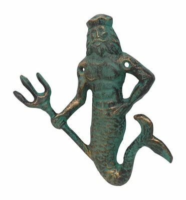 Primitive Neptune King of the Sea Cast Iron Hook 6.5 Tall