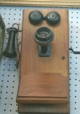 Antique Oak Crank Wall Phone with bell ringer, 5 bar magnito and hand crank.