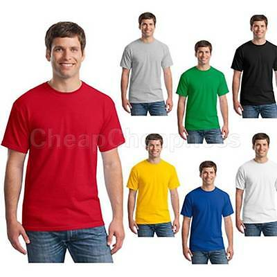 Mens T-Shirt Crew Neck Blank Basic Plain TEE Short Sleeve Cotton LJ
