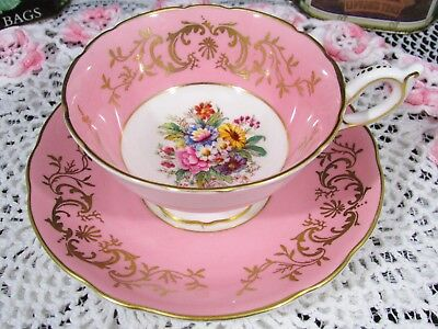 Coalport Pink Intricate Gold Artist Signed Floral Tea Cup And Saucer