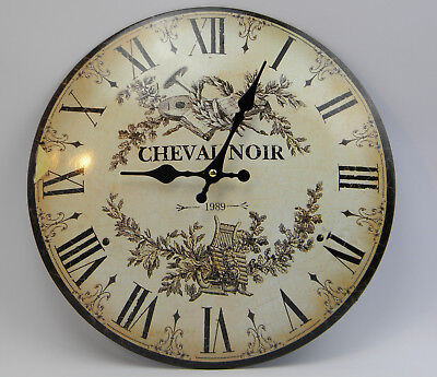 Wall Clock Horse Noir French Country House Style Watch Metal Antique - Retro -