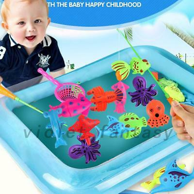 21 Pcs/Set Baby Bathing Fishing Toy Floating Magnetic 2 Rods +2 Nets Baby Gift