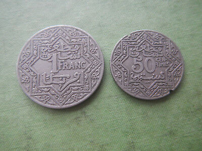 2 COINS 1921 MOROCCO 50 Centimes & 1 Franc French Protectorate