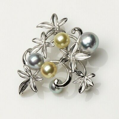 """Multicolor Real Akoya Cultured Pearl Floral Brooch Pin 925 Sterling Silver 1.77"""""""