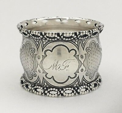 Magnificent Open Work Antique Victorian Sterling Silver Lace Napkin Ring