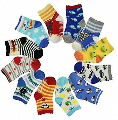 12 Pairs Anti Slip Baby Kids Socks Ankle Toddler Non-skid Soft Cotton Assorted