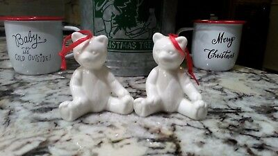 Lot of 2 Department 56 White Teddy Bear Bone China Christmas Ornament Red Ribbon