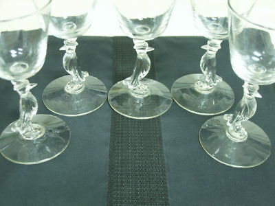 4 Old Crow Tuxedo Top Hat Stems Goblets Glasses 5 OZ EXC