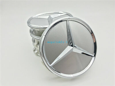 4 pcs 75mm MERCEDES-BENZ CENTER WHEEL HUB CAPS EMBLEM BADGE Silver 220400012
