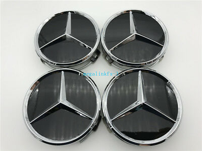4 PCS 75mm MERCEDES-BENZ CENTER WHEEL HUB CAPS EMBLEM BADGE BLACK