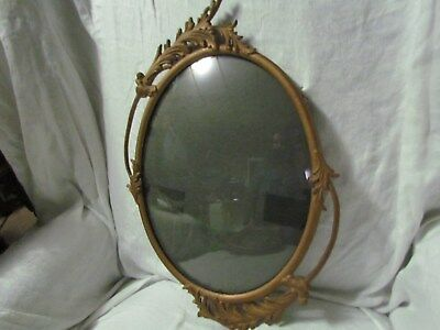 Antique Gold Oval Cast Metal Art Deco Picture Frame Curved Glass Pic Size Ornate