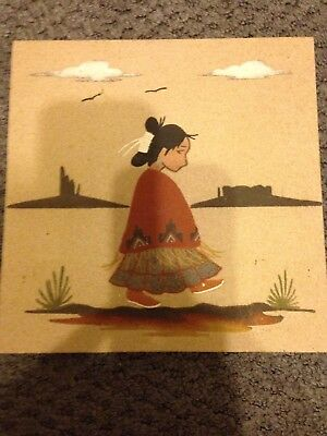 "Sand Art Native American Painting signed by L Sandman ""Navajo Girl"" 8x8"