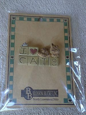 Blossom Bucket I LOVE CATS Pin New in Package ~ FREE SHIPPING