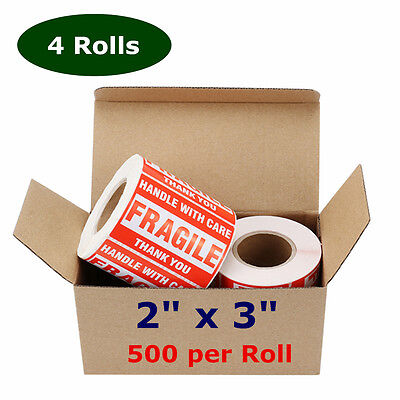 4 Rolls 500/Roll 2x3 Fragile Sticker Handle with Care Mailing Shipping Label Red