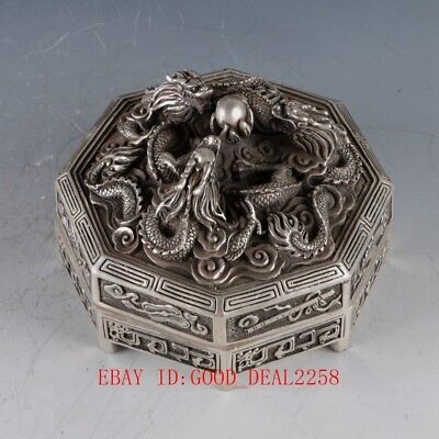 Chinese Silver Copper Hand Carved Dragon Box W Qianlong Mark ZJ204