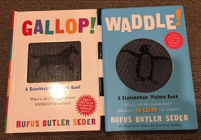 Lot of 2~Scanimation Board Books~Waddle Gallop~LBDWJ