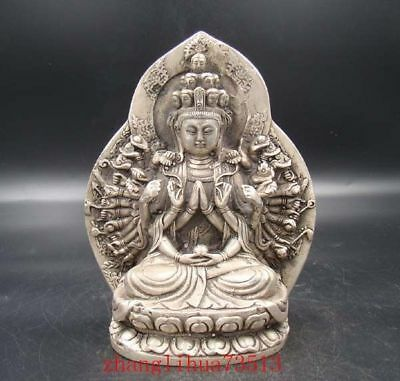 Collectible Handmade Carving Statue Thousand-hand Buddha God India Copper Silver