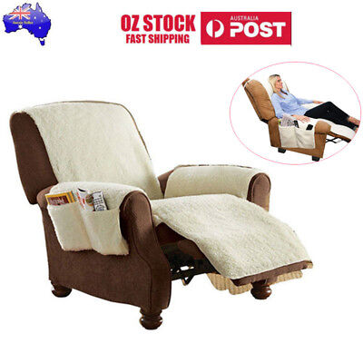 Sobakawa Natural SNUGGLE UP Poly Fleece Comfort Recliner with 4 Pockets Cover