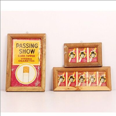 Vintage Wooden Passing Show Cigarettes Virginia Ad Litho Tin Sign Board 6604