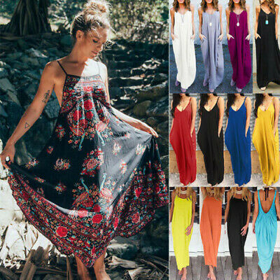 Women's Boho Long Maxi Dress Summer Evening Party Beach Holiday Loose Sundress