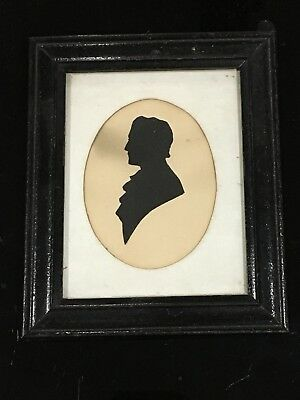Old Antique 19th Century Silhouette Portrait Painted Folk Art Miniature