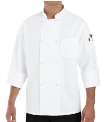 Chef Designs Eight Knot Button Chef Coat with Thermometer Pocket - White XXL New