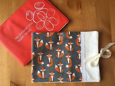 Handmade Baby Health Record Book Cover for the Red NHS Book - Foxes