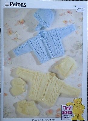 Patons Tiny Sizes Knitting Pattern Book-3,4 & 8 Ply-Premmie And Newborn Sizes.