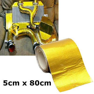 5*80cm Reinforced Tape Heat Shield Adhesive Backed Resistant Wrap Intake Gold