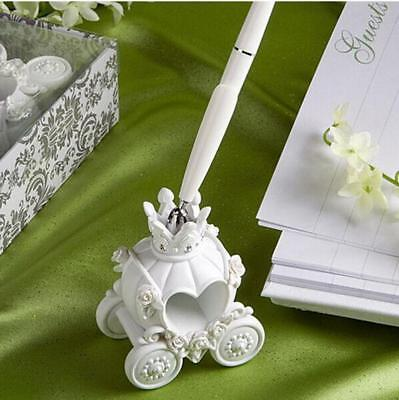 Resin Pumpkin Carriage Shape Wedding Pen Set & Holder Party Supplies Decor