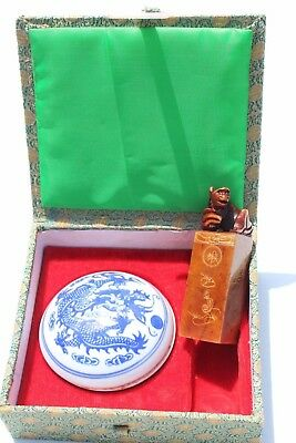 Vintage Chinese carved monkey seal stamp PHILIP white blue porcelain wax pot