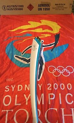 #85 - Sydney 2000 Olympic runners relay torch with flag, uniform and box