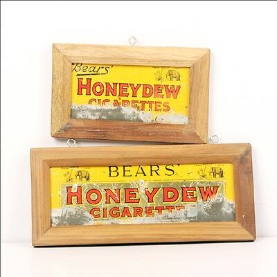 Vintage Framed Bears Honey Dew Cigarettes Cigarette Ad Litho Tin Sign Boards 1