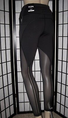 Nwt Victoria's Secret Sport Black Mesh Stripe Back Knockout Yoga Tight Leggings