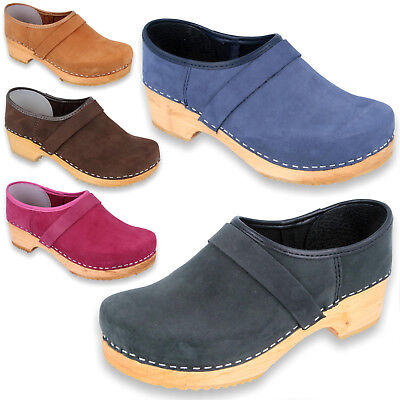 QUALITY Swedish Style Wooden Clogs Shoes Pull-up Leather Holzclogs Womens Mens