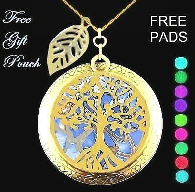 Tree of Life Leaf Gold Aromatherapy Oil Diffuser Locket Pendant Necklace JBK