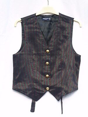 sz 8 10 Sarah Savery black multi-stripe brass buttons shiny waistcoat Goth larp