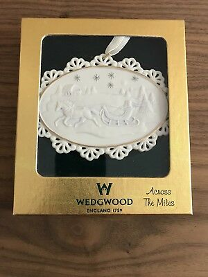 Wedgwood Across The Miles Christmas Ornament Sleigh Ride Snow And Stars Relief