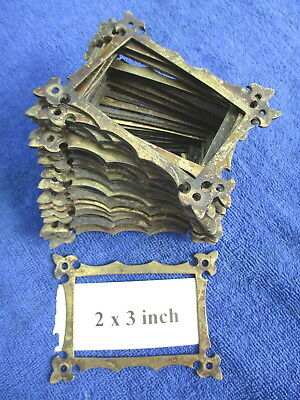 Early Reclaimed Antique Brass Furniture Label Frame Holder. Up to 25 available.