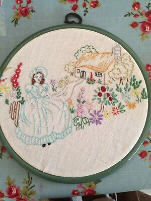 Vintage Embroidered Crinoline Lady Picture