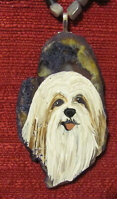 Tibetan Terrier hand painted on freeform Agate Slice pendant/bead/necklace