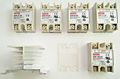 SSR-25,40,50,60,75, 100 DA Halbleiter Solid State Relais 3-32VDC out 24-380VAC