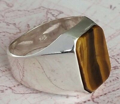 Turkish Ottoman Signet Tiger Eye Gemstone Solid 925 Sterling Silver Men Ring