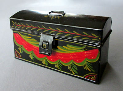Small VINTAGE Hand Painted Tin TOLEWARE BOX Dated 1950