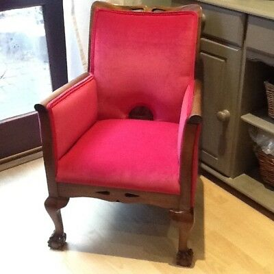 Antique Chair, Wooden Show Frame, Ball and Claw Feet, Newly Reupholstered