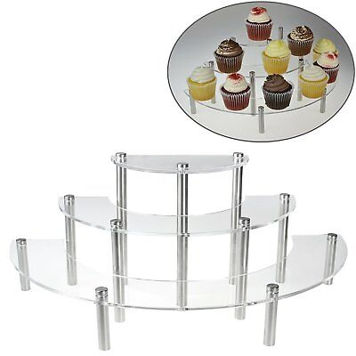 Clear Acrylic 3 Tier Half Moon Shelf Unit Table Top Retail Display Riser Spices