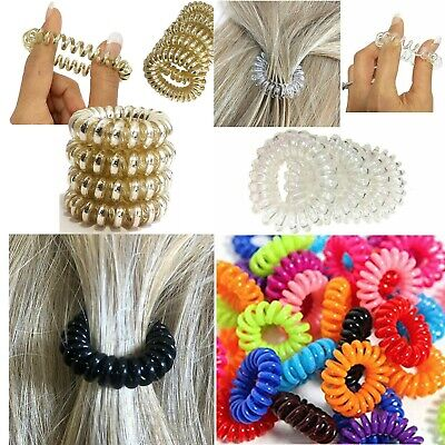 10 Hair Spiral Bobbles Coil Elastic Band No Tangle Hairband Clear Ties Stretchy