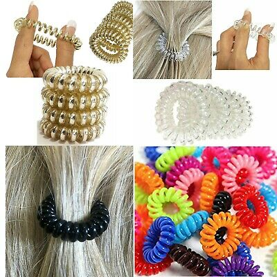 10 Hair Spiral Coil Bobbles Elastic Band No Tangle Hairband Clear Ties Stretchy